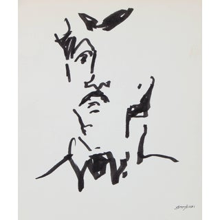 Pasquale Patrick Stigliani Modernist Portrait of a Man Drawing in Ink, 20th Century For Sale