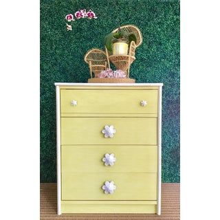 1970s Dorothy Draper Style Citron Pinwheel Chest Preview