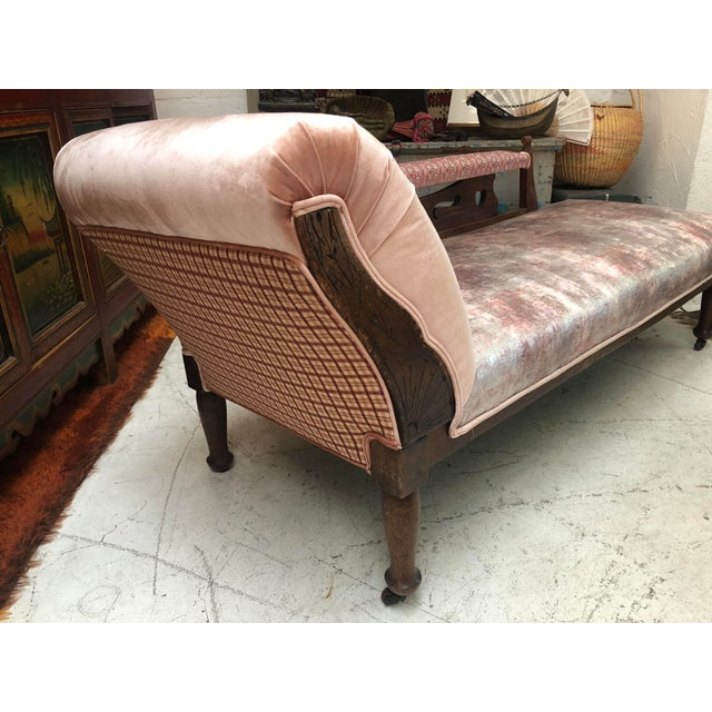 Cotton 1920s Art Nouveau Plush Pink Chaise Lounge For Sale - Image 7 of 11