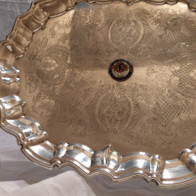 Vintage English Equestrian Silver Plated Serving Platter with Feet - Image 8 of 10