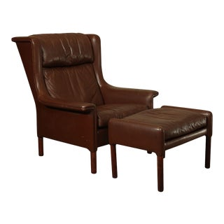 Danish Modern Brown Leather Rosewood Wing Chair with Ottoman For Sale