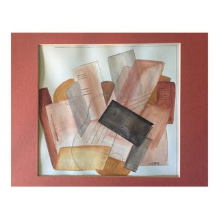 Vintage Abstract Modern Watercolor For Sale