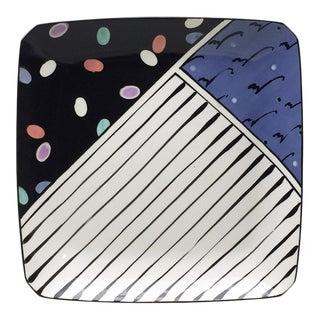 1980s Dorothy Hafner Memphis Inspired Handmade Square Platter For Sale