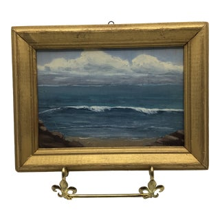 Vintage 1973 Framed Miniature Seascape Oil Painting on Artist Board by M. T. Bramman For Sale