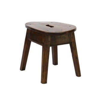 Oval Elmwood Work Stool With Pierced Top, English, Circa 1830 For Sale
