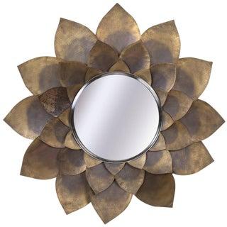 Rare Hand-Hammered Brass Lotus Flower Mirror, Mid-Century