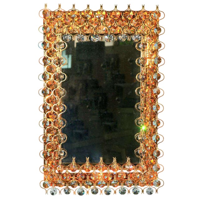 Lobmeyr Crystal & Gold Backlit Mirror For Sale
