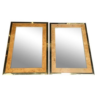 Milo Baughman for Founders Burl Wood Mirrors - A Pair For Sale