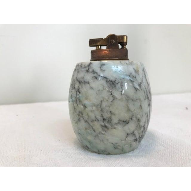 Shabby Chic 1960s Vintage Marbled Alabaster Tabletop Lighter For Sale - Image 3 of 12