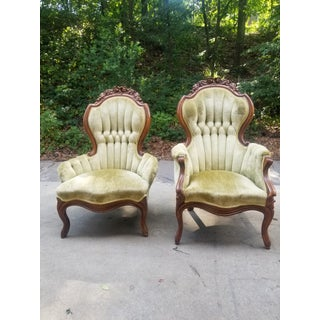 1930s Vintage Victorian Green Velvet Slipper Chairs - A Pair Preview