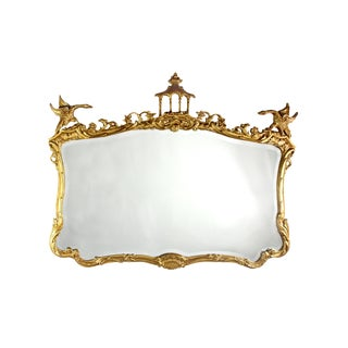 La Barge Chippendale Chinoiserie Pagoda Ornamented Gold Mirror With Bevel