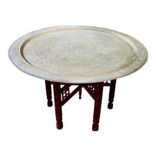 Moorish Chic Moroccan Engraved Brass Tray Table For Sale