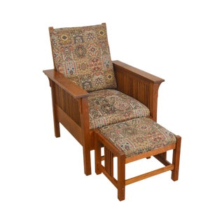 Stickley Mission Collection Cherry Prairie Spindle Chair W/ Ottoman For Sale