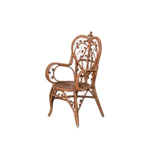 Heywood Wakefield Style Antique Wicker Armchair For Sale