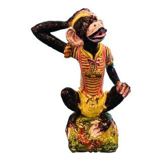 Rare Terra Cotta Hand Painted Monkey Statue