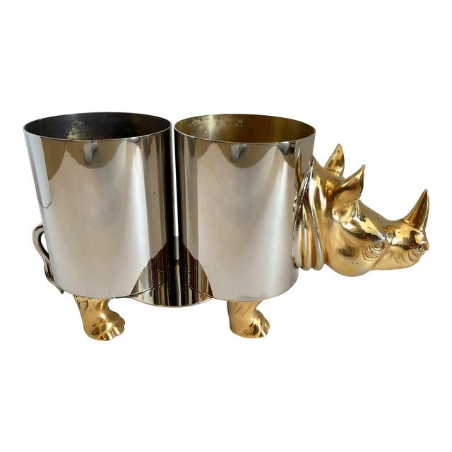 Italian Hollywood Regency Rhinoceros Double Bottle Cooler / Holder For Sale