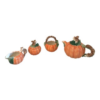 Vintage Oci Fitz and Floyd Pumpkin and Squirrel Tea Set - Set of 4 For Sale