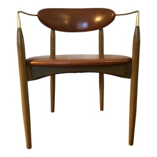 Dan Johnson Mid-Century Modern Leather and Wood Viscount Desk Chair For Sale