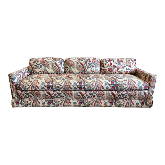 Vintage 1970s Down Sofa in Fabulous Print Upholstery For Sale