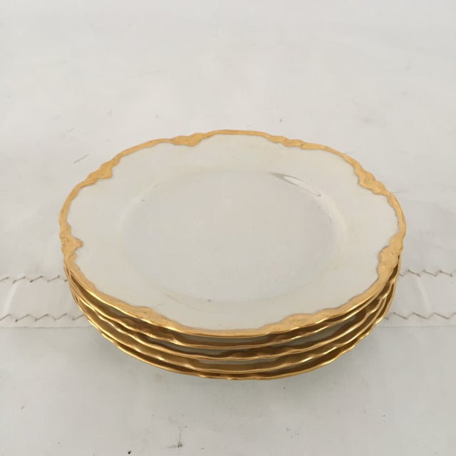 Hutscheneruther French Style Lusterware Pearl White/Gilt Rim Bread Plates - Set of 5 For Sale - Image 5 of 5