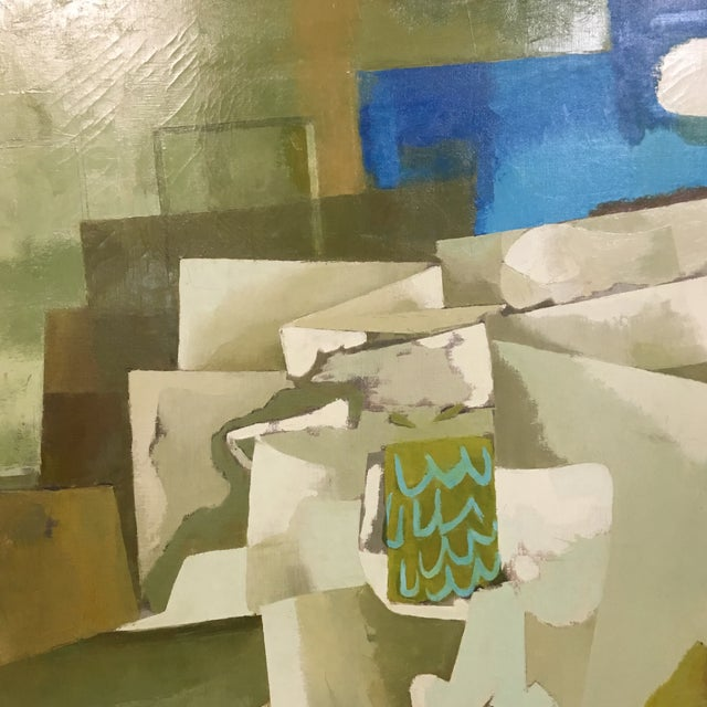 Mid-Century Green & Tan Cubist Oil Painting - Image 3 of 9