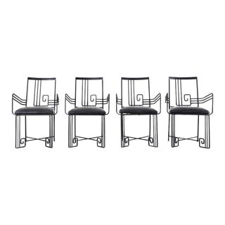 Set of Four Salterini Style Greek Key Garden Patio Chairs For Sale
