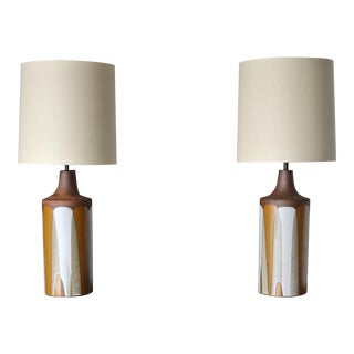 """David Cressey Large Scale Pair of """"Flame Glaze"""" Ceramic Lamps, Circa 1970 For Sale"""