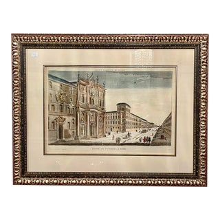 Antique 18th C Depose Hand Colored Engraving Print - Eglise De St. Charles , a Rome For Sale