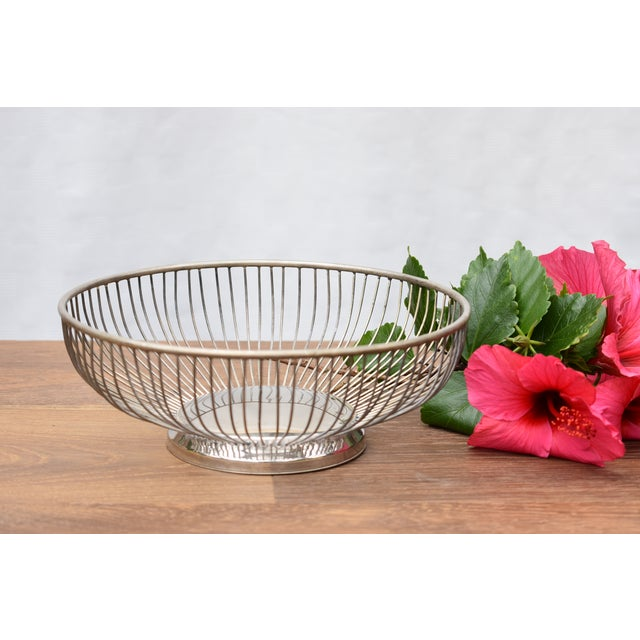 1970s Vintage Silver Plated Wire Bowl For Sale - Image 4 of 5