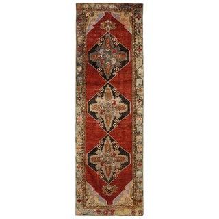 Vintage Turkish Oushak Rug - 3′2″ × 10′7″ For Sale