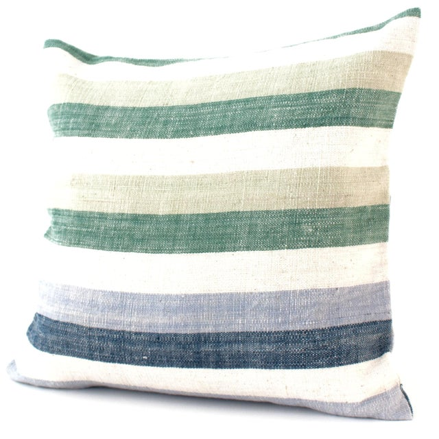 Blue & Green Striped Cotton Pillow - Image 1 of 5