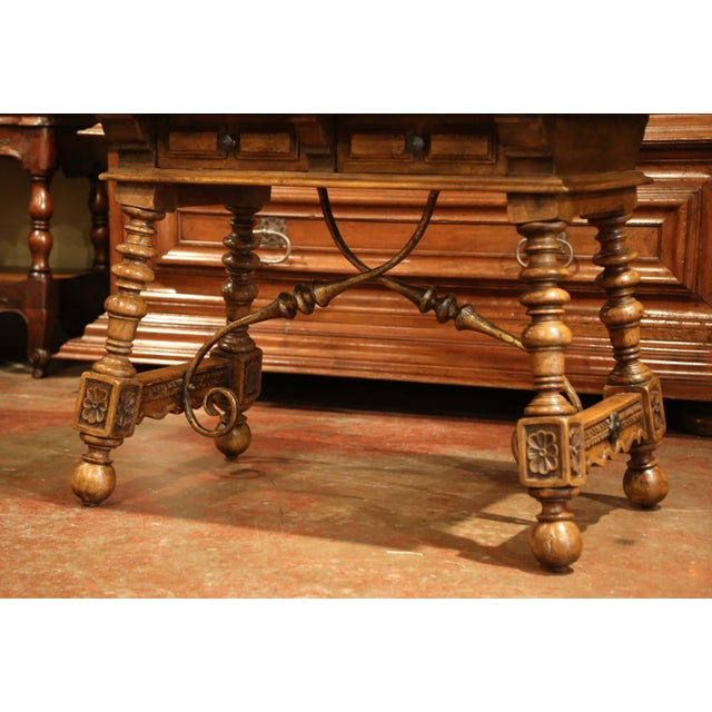 Early 20th Century Spanish Carved Walnut Writing Table With Iron Stretcher For Sale In Dallas - Image 6 of 12