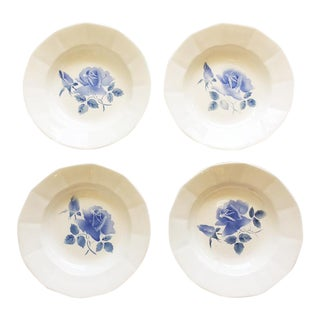 French Blue Floral Plates - Set of 4