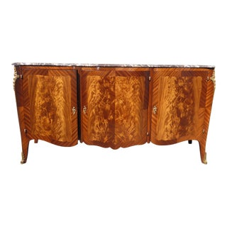 Vintage Harrods French Rococo Louis XVI Marble Top Ormolu Buffet Sideboard For Sale