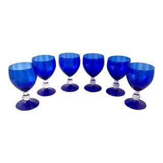 Vintage Collection of Cobalt Blue Wine Glasses For Sale