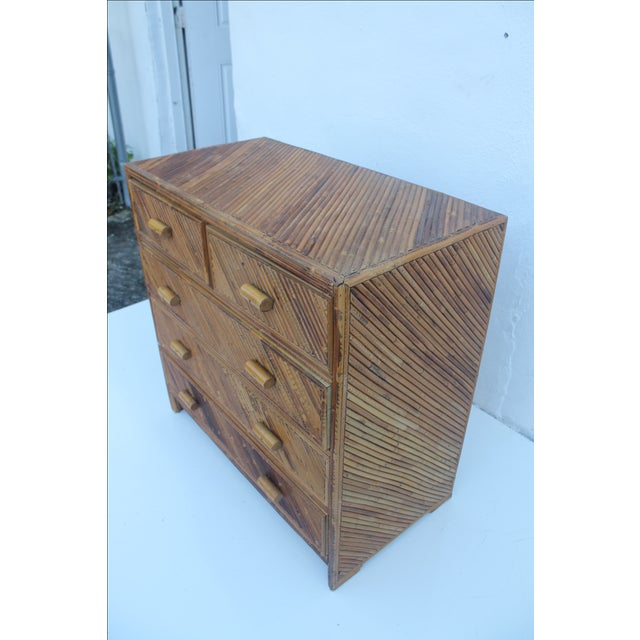 Vintage Pencil Reed & Rattan 5 Drawer Chest - Image 10 of 11