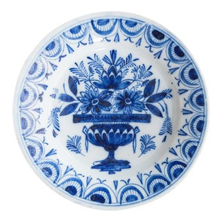 18th-Century Antique Dutch Delft Flower Pot Plate For Sale
