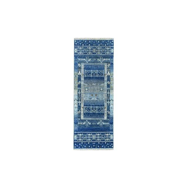 Textile Denim Blue Kashkuli Gabbeh Pictorial Wool Hand Knotted Runner For Sale - Image 7 of 7