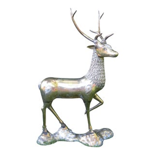 Hollywood Regency Mid Century Large Standing Brass Deer Statue For Sale