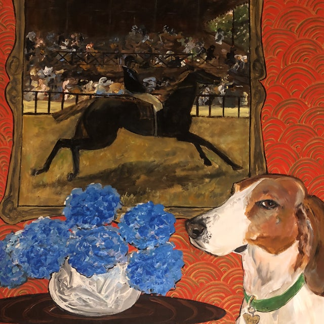"French Original ""Horse & Hound"" Dog Painting by Judy Henn For Sale - Image 3 of 6"