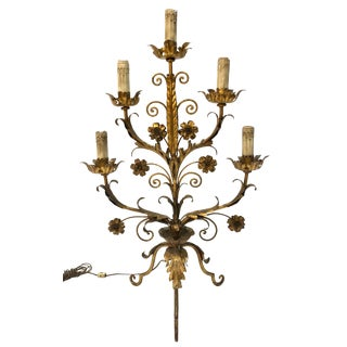 Vintage Mid Century Italian Hollywood Regency Style 5-LightTole Candelabra For Sale