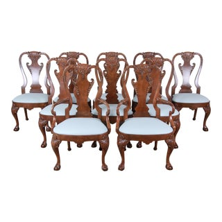 Baker Furniture Stately Homes Chippendale Carved Burled Walnut Dining Chairs, Set of Ten For Sale