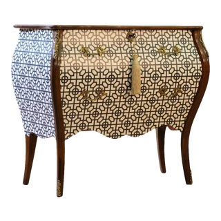 1940s Rococo Two Drawer Chest With Marble Top For Sale