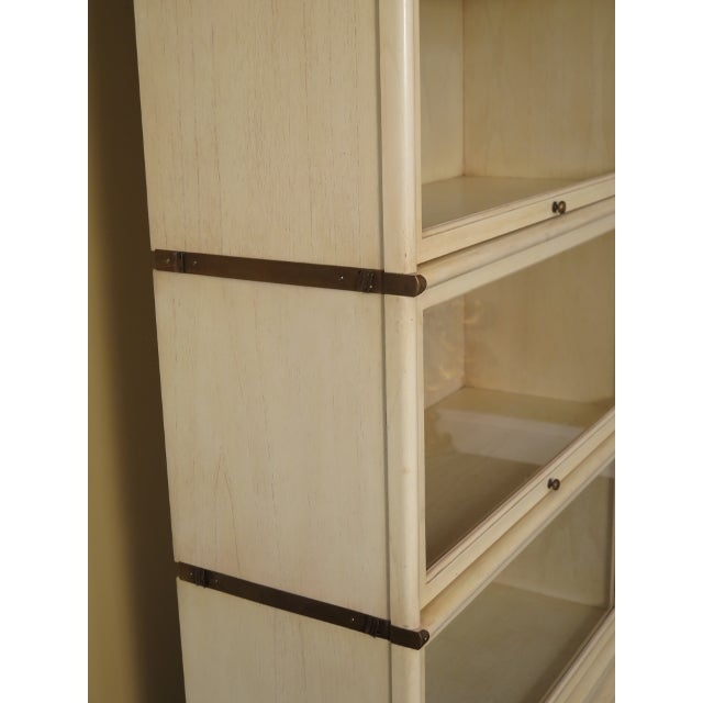 Globe Wernicke 1990s Transitional Globe-Wernicke White Decorated Stack Barrister Bookcase For Sale - Image 4 of 13