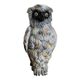 Vintage Italian Made Figural Owl Ceramic Pitcher For Sale
