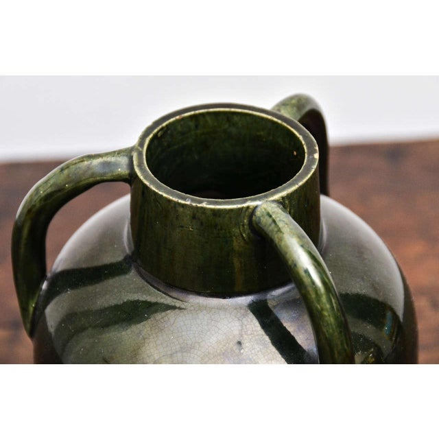 Mid 20th Century Dark Green Ceramic Vase With Three Handles For Sale - Image 5 of 7