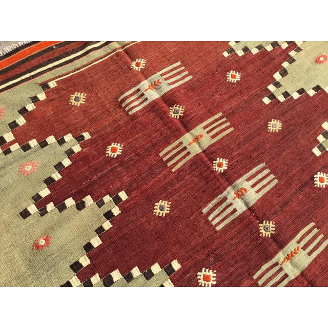 "Vintage Turkish Kilim Rug - 4'9"" X 7' - Image 7 of 10"