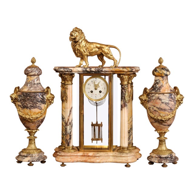 19th Century French Marble and Bronze Mantel Clock With Matching Cassolettes For Sale