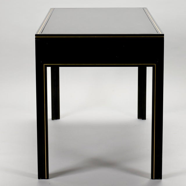 Pierre Vandel French Black Lacquered and Brass Desk For Sale - Image 10 of 11