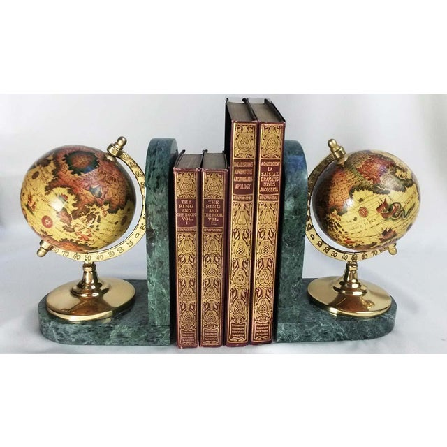Grand Tour Old World Globe Bookends on Solid Green Marble - A Pair For Sale - Image 3 of 7